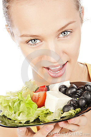 Girl with plate of salad