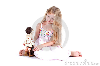 Girl play with doll