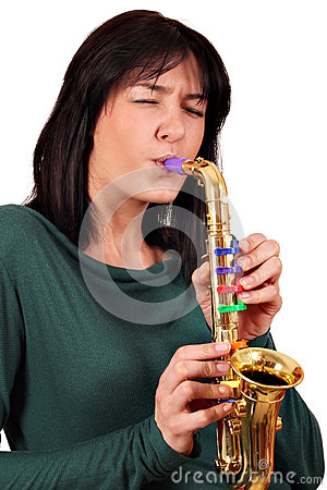 Girl play saxophone