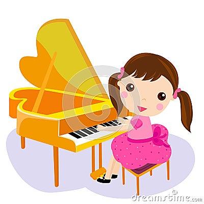 Free Girl Play The Piano. Royalty Free Stock Photo - 15193085