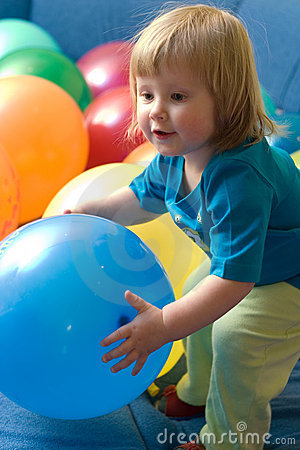 Girl Playing With Balloons Stock Images - Image: 2019794