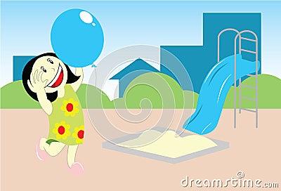 Girl playing baloon