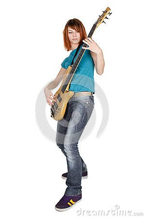 Girl playing bass guitar ,full body, isolated