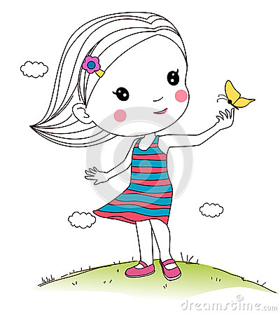 Free Girl Playing Butterfly Stock Images - 43324004