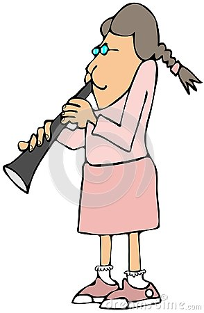 Girl playing a clarinet