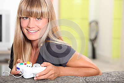 Girl playing with console