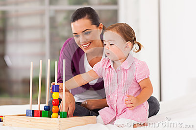 Girl playing educational toy