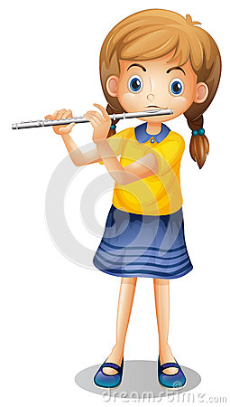 Free Girl Playing Flute Alone Royalty Free Stock Images - 81329119