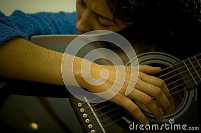Girl Playing Guitar Horizontal Portrait