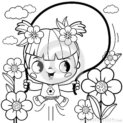 Free Girl Playing In The Flower Garden Coloring Book Page Royalty Free Stock Photo - 78907165