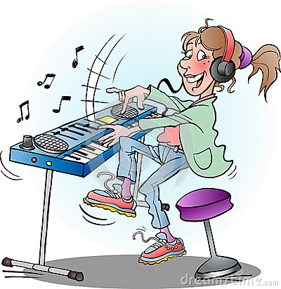 Girl Playing Keyboard Stock Illustration Image 65806117