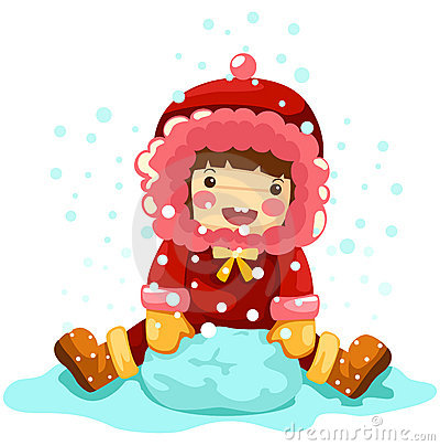 Girl playing snow