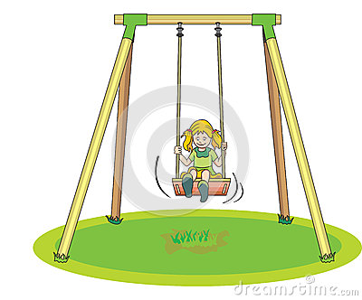 Girl Playing on a Swing, illustration
