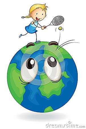 Girl playing tennis on earth globe