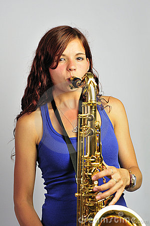 Girl Playing Tenor Saxophone