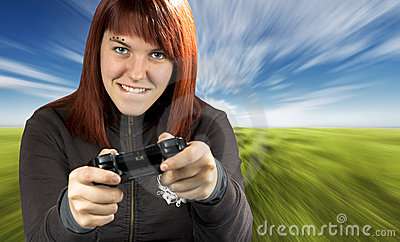 Girl playing video game console