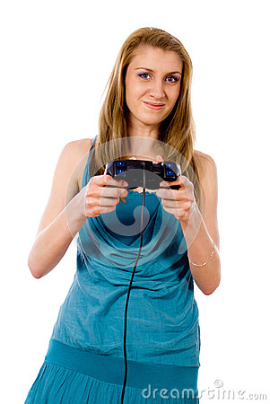 A girl playing video games