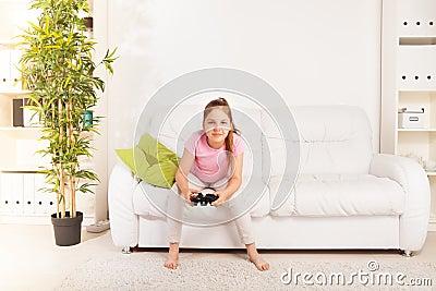 Girl playing videogame