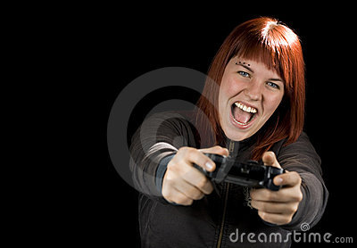 Girl Playing Videogames.