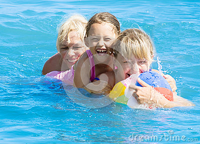 Girl playing  in the water