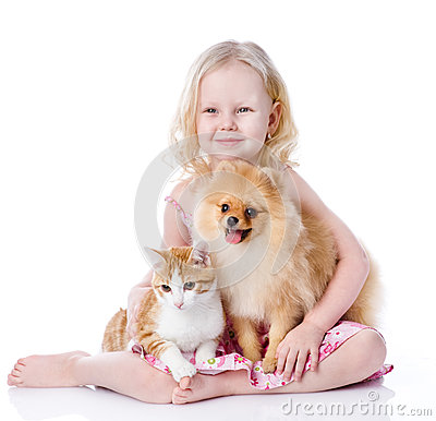 Free Girl Playing With Pets - Dog And Cat. Royalty Free Stock Photography - 40167717