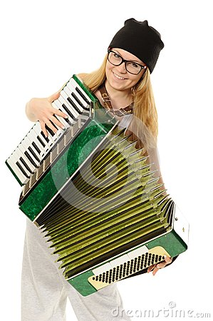 The girl plays an accordion