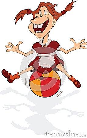 Girl plays with a ball. Carto