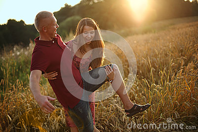 Girl plays the fool with Man Stock Photo