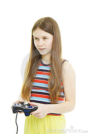 Girl plays video console game