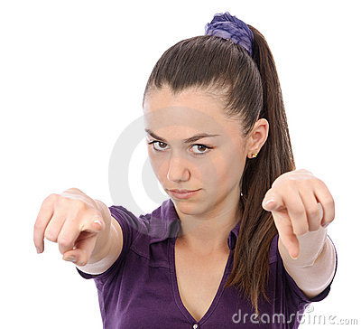 Girl pointing both hands