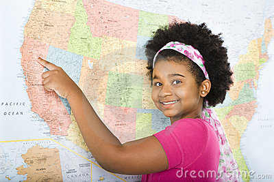 Girl pointing to map.