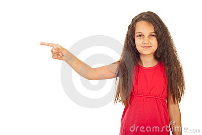 Girl pointing to a side