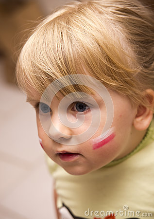 Girl with Polish flag on face