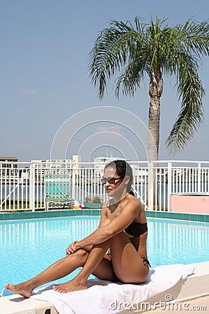 Girl and pool
