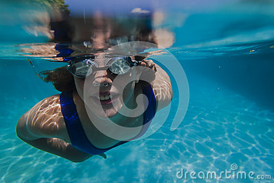 Girl Pool Goggles Underwater