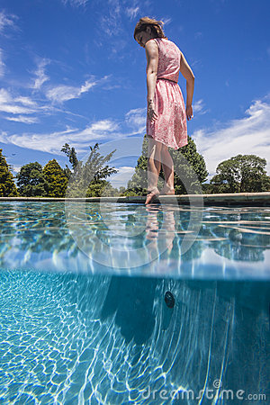 Girl Pool Waterline Test