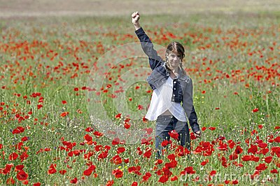 Girl with poppies happy