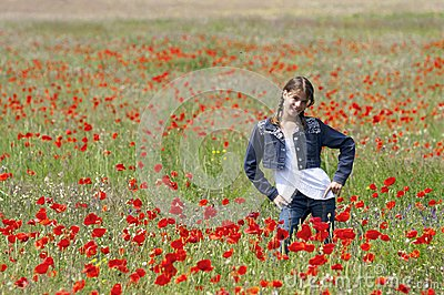 Girl with poppies posing
