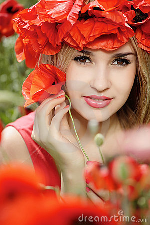 Girl in poppy wreath