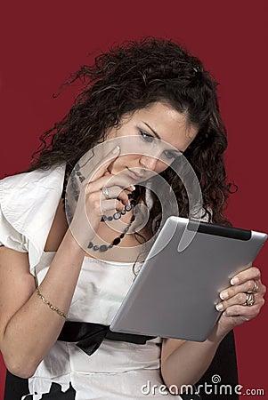 Girl  and portable computer