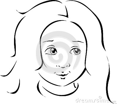 Girl portrait black line illustration