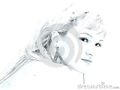 Girl portrait in high-key