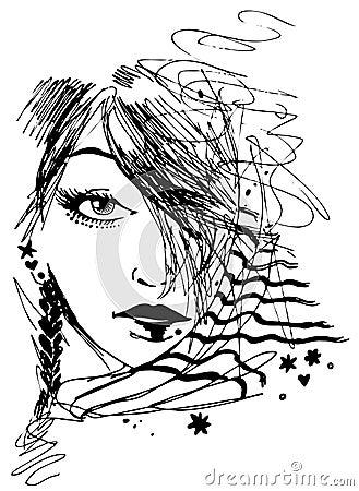 Girl Portrait in Ink