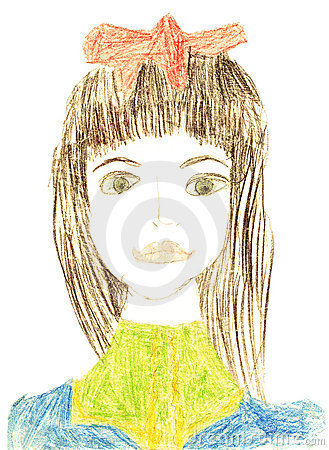 Girl portrait original kid s drawing