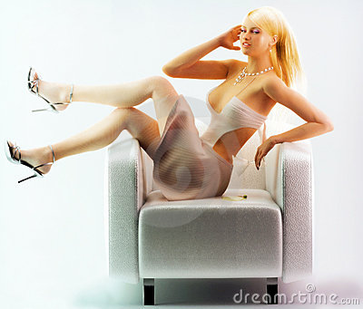 Girl posing on chair