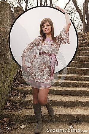 Girl posing with reflector