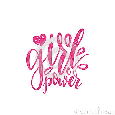 Free Girl Power Hand Lettering Print. Vector Calligraphic Illustration Of Feminist Movement Royalty Free Stock Images - 99435819