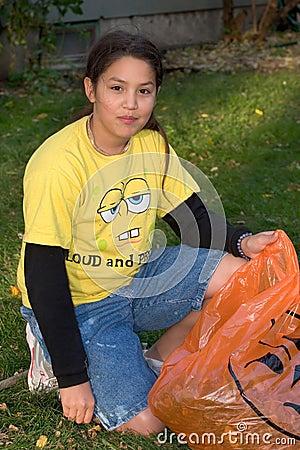 Girl preparing for Halloween