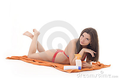 Girl preparing to take hours of sunbathing