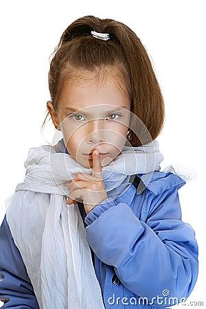 Girl-preschooler in blue jacket